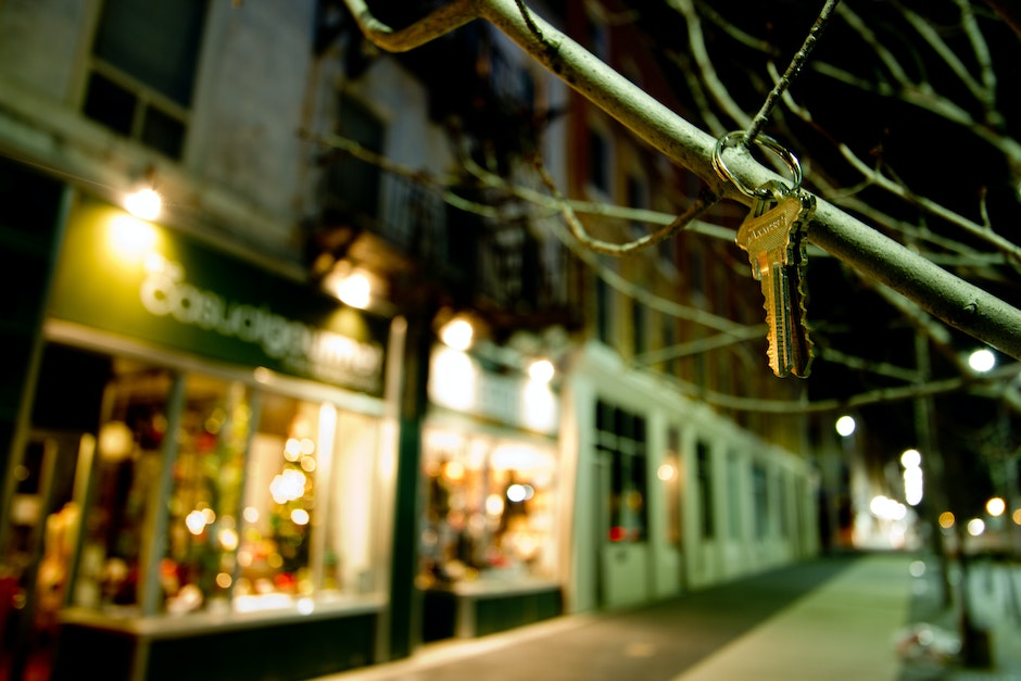 A set of keys hanging on a branch of a hibernating tree on Carden Street across the new city hall in Guelph, Ontario