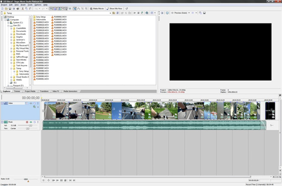 Lazy Summer Ride on Sony Vegas Movie Studio, showing the composition of video and music track.
