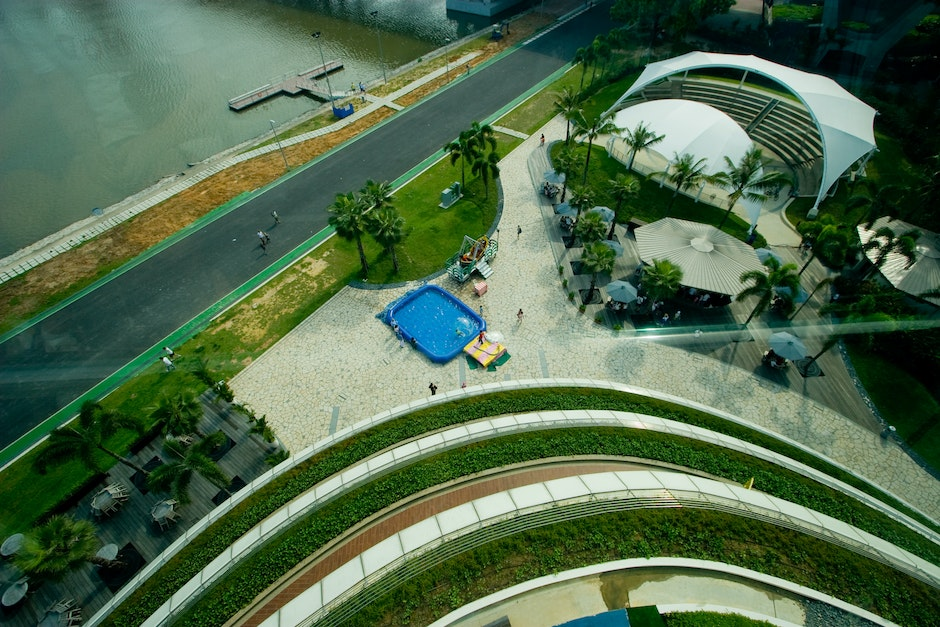 Looking down from the Singapore Flyer capsule, the Formula One track visible