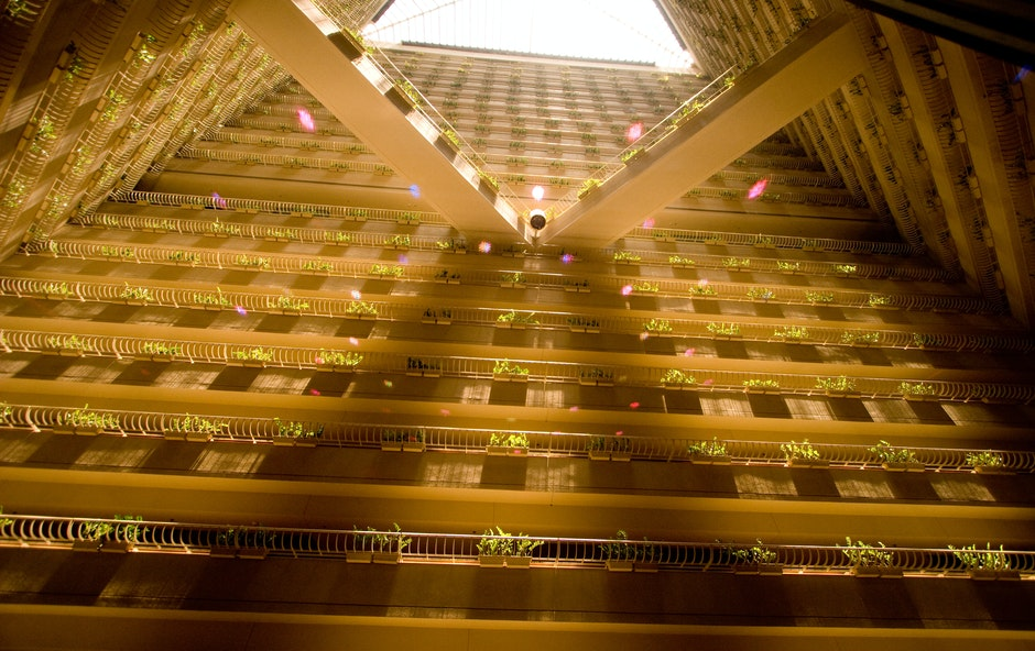 Looking up from the lobby of Pan Pacific Hotel