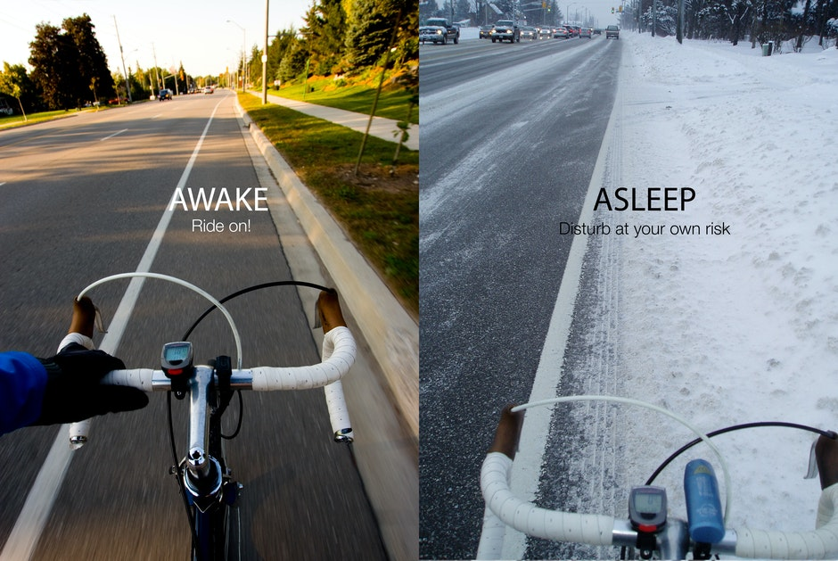 Comparison between bicycle lanes in the summer and in the winter